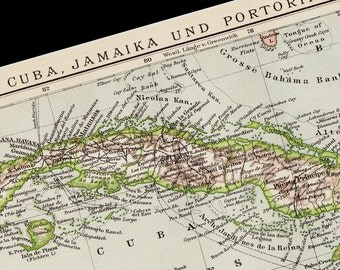1893 CUBA, JAMAICA and Puerto Rico, Antique victorian map. 120 years Old lithograph print.