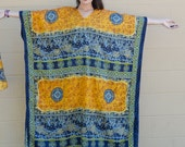 Vintage AFRICAN CAFTAN Tunic Duster MUMU Dress with Belt Unisex King and Queen Hippie Festival