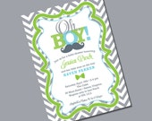 Little Man Baby Shower Invitation - Personalized Printable File or Print Package Available - Oh Boy #00069-PIA7