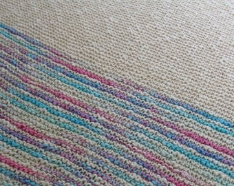 Pink and Blue Hand Knit Organic Cotton Blanket