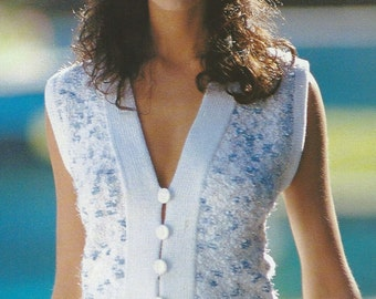 Vintage Summer Fashion Knit Sweater Cardigan with buttons PDF Pattern