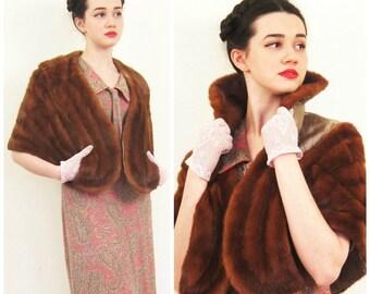 Vintage 1950s Fur Wrap in Brown Mink / 50s Fur Stole Capelet or Shrug