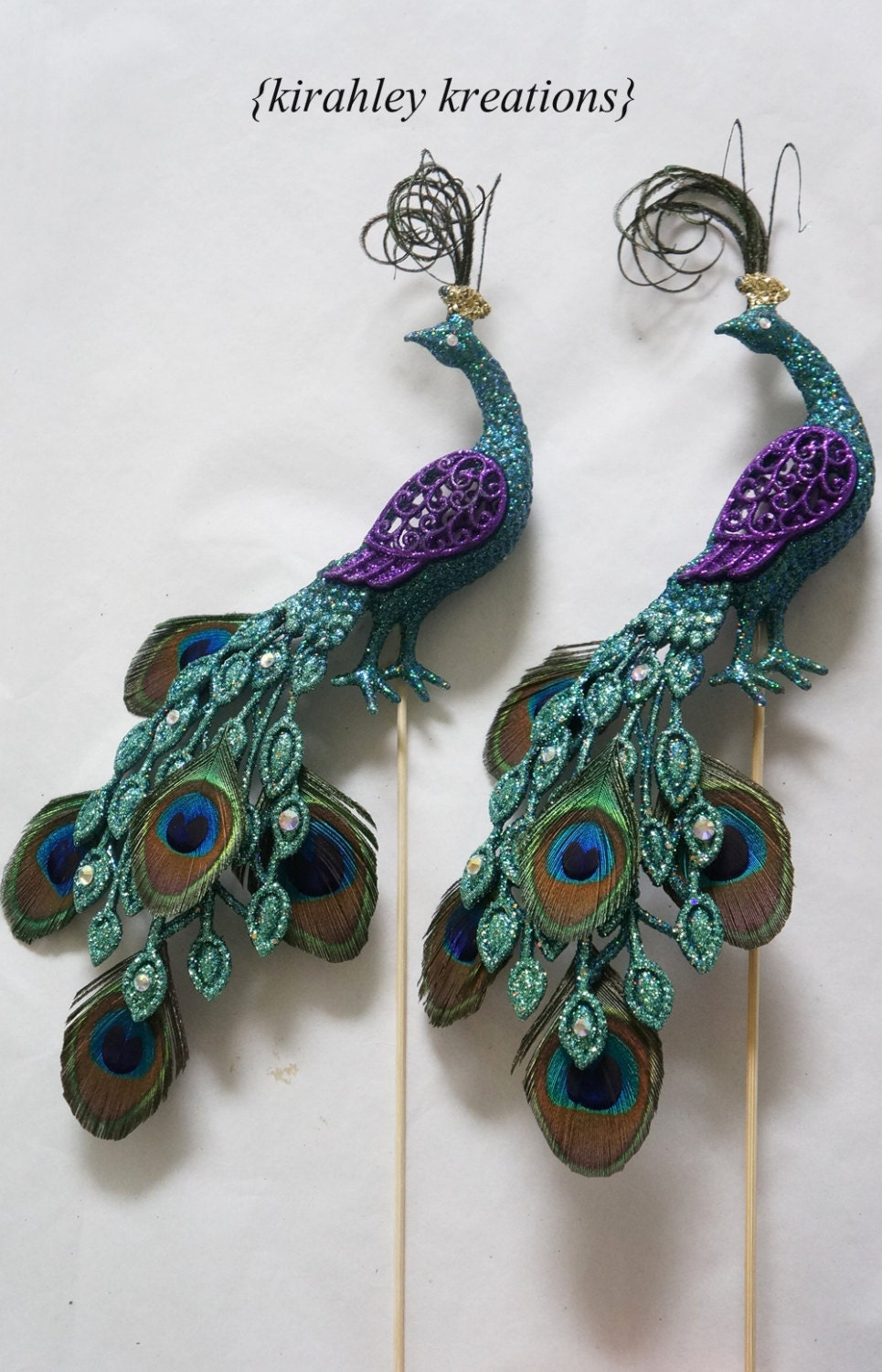 peacock cake toppers