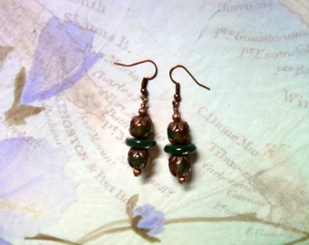 Green and Orange Agate and Green Jade Earrings (1982)