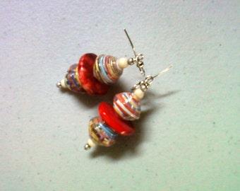 Muticolor Red Ethnic Earrings (1373)