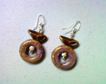 Pink and Brown Ceramic Earrings (1286)
