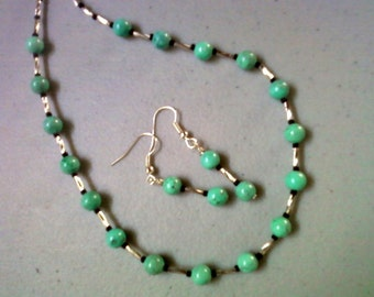 Turquoise, Silver and Black Necklace and Earrings (0620)