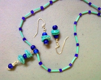 Aqua and royal blue necklace and earrings (0686)