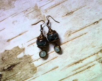 Blue, Green and Brass Terra Cotta Earrings (2077)