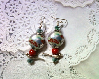 Silver, Red, Cream and Blue Oriental Theme Earrings (2079)