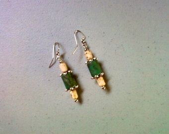 Cream and Green Jade Earrings (1521)