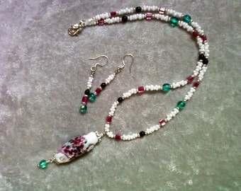 Fuschia, Teal, Black and White Necklace and Earrings (0996)
