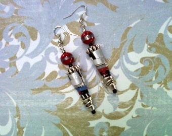 Silver, Black, Red, White and Aqua Earrings (1603)