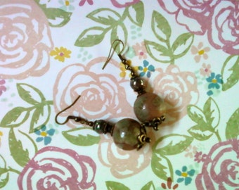 Terra Cotta, Green and Brass Earrings (2133)