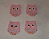 Feltie Machine Embroidered Hand made (4) Felt Owl CUT Embellishments / appliques
