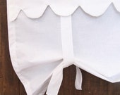 "White Roll Up Shade, Tie up Window Panel, Bedroom Curtain, 52"" Length, Front Door Curtain, French Decor"