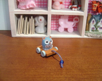 Dollhouse child's pull toy owl blue miniature 1:12 Scale