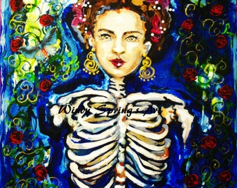 Frida Kahlo Grateful Dead by Spring 12x16 Hand Painted Giclee Canvas Print Mexican Folk Art