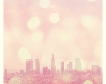 LA skyline photo, large wall art, City of Dreamers, purple pink Los Angeles photograph, Modern Family, urban La-La Land, little girls room