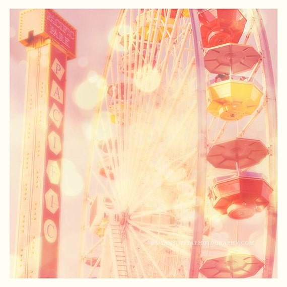 nursery decor, ferris wheel photo, Carnival Lights, baby room art, pink decor, Santa Monica photography, California print 30x30