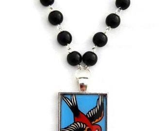 Rockabilly Sparrow Tattoo Necklace