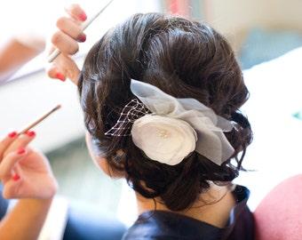 Bridal hair flower wedding hair clip ivory pearls tulles