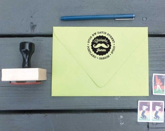 Mustache Custom Return Address Stamp - Personalized for Hipsters, Barbershop Quartette Members, and Facial Hair Enthusiasts