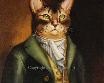 """Cat Art- """" Mr. Knightly """" - Oil Painting by Olivia Beaumont"""