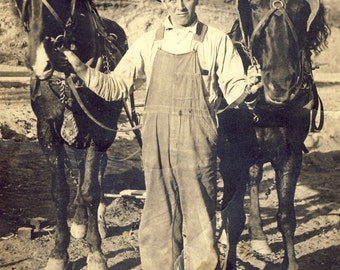 Farmer In OVERALLS Holds TEAM of HORSES Photo Postcard Circa 1910s