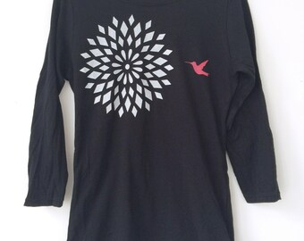 Pink Hummingbird Flower on Black 3/4 Sleeve Shirt