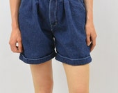 Vintage High Waisted Pleated Denim Shorts, Size XXS-XS, Baggy, Mori Girl, 90's Clothing, Quirky, Natural Kei, Hipster