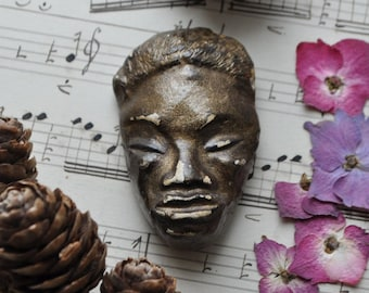 SALE!! Vintage Clay Face Brooch. Pin. Chippy Paint. Gold Dust. Rustic.