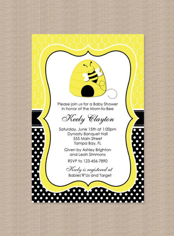 bumble bee baby shower invitations by honeyprint on etsy