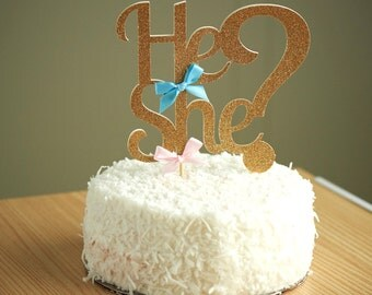 Gender Reveal Party Decor.  Handcrafted in 2-3 Business Days.  He or She Cake Topper.