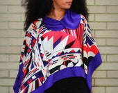 Poncho / Silk / One Of A Kind / Purple, Red, White