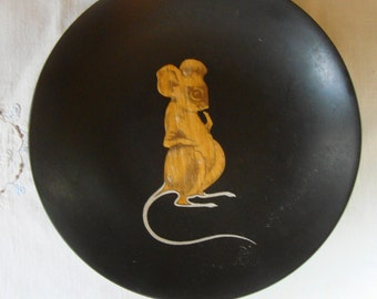 VINTAGE Couroc of Monterey Mouse Bowl Mid Century Couroc Wood Inlay Bowl Cute Mouse Serving Bowl High Quality Couroc