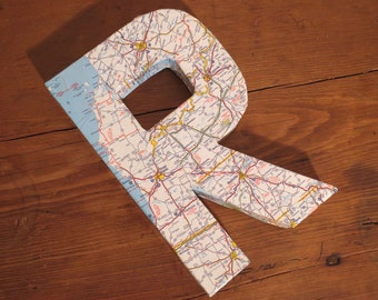 """Vintage Map Covered Letter - """"R"""" - Home Decor, East Coast, 3 Dimensional, Free Standing"""
