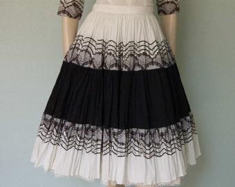 1950s Southwestern Fiesta Skirt Blouse Set // Hand Embellished // Swing Dance // Light Weight Cotton // Dinner and Dancing