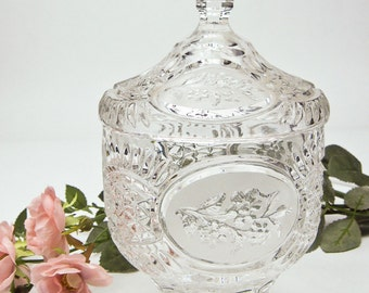Crystal Footed Candy Dish, Lidded Dish, Tall Candy Bowl, Crystal Bowl, Wedding Gift