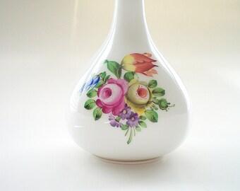 """Hand Painted Porcelain Vase Vintage Herend Vase 5"""" Onion Neck Bud Vase"""