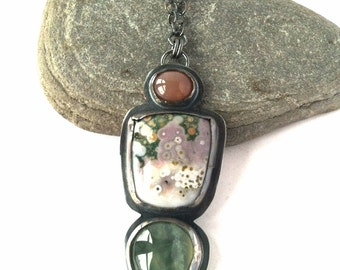 Multistone Necklace - Ocean Jasper, Peach Moonstone, Prehnite, and Sterling Silver