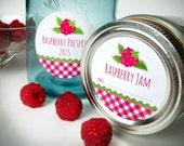 Gingham Raspberry canning labels, round mason jar labels, fruit preservation canning labels, jam jelly jar labels, preserves, cottage chic