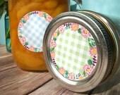 Cottage Chic Wreath canning jar labels, round flower canning labels for fruit preservation jam & jelly mason jar labels, baby shower favors