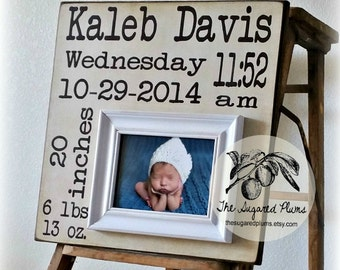Baby Gift, Personalized Baby Gift, Birth Stats, Baby Frame, First Birthday, Baby Boy, Baby Girl 16x16 The Sugared Plums