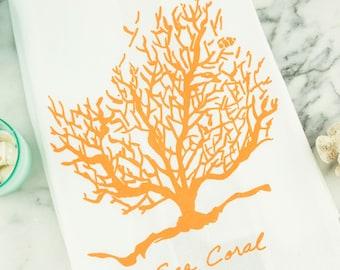 Sea Coral Tea Towel
