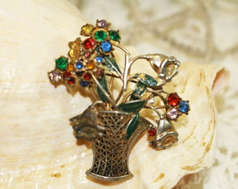 Vintage Flower Bouquet Brooch, Vintage Pin, Multicolored Rhinestone Flowers in Vase    - F