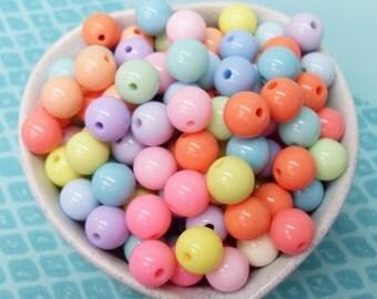 50x 10mm Resin Pastel color Globe beads .. Bubblegum Fun