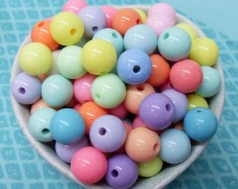 30x 12mm Resin Pastel color Globe beads .. Candy Fun