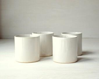 White Stoneware Cups - Hand Made White Ceramic Tumbler
