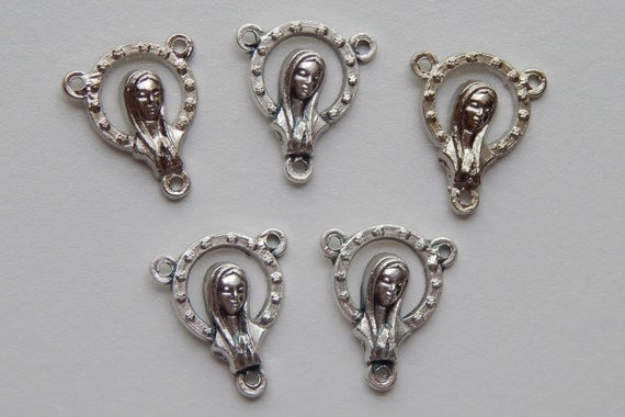 5 Rosary Center Piece Findings, Madonna and Jesus, Silver Color Oxidized Metal, Rosary Centers, Religious, Hardware, Made in Italy, 3 Loops